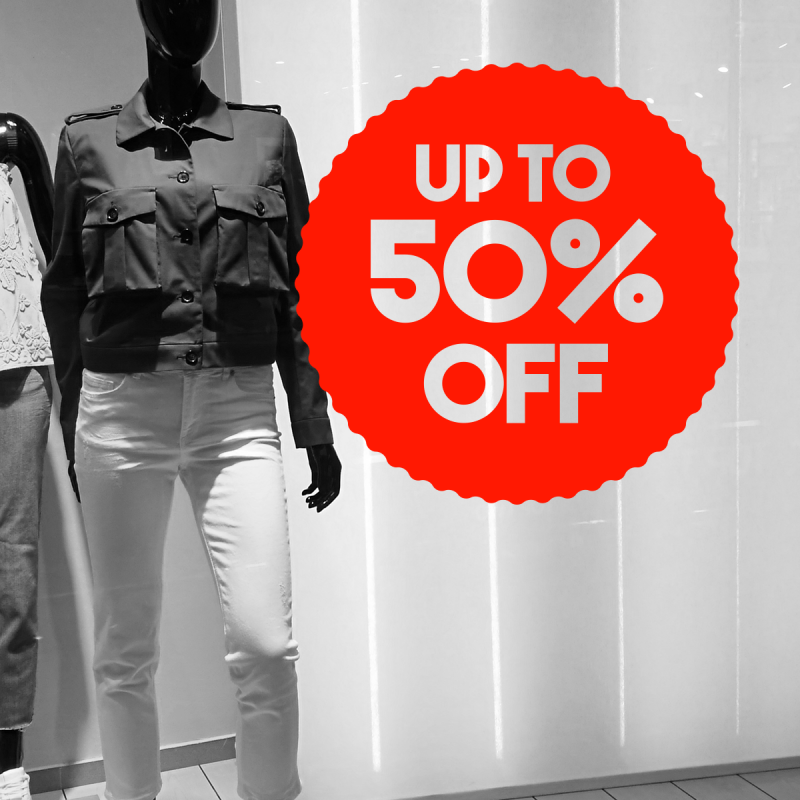 sale aufkleber up to 50%